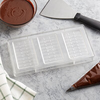 Fat Daddio's PCM-1431 ProSeries Polycarbonate 24 Square 3-Bar Block Candy Mold