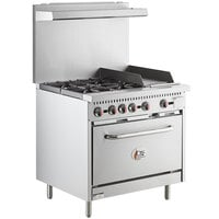 Cooking Performance Group S36-G12-P Liquid Propane 4 Burner 36 inch Range with 12 inch Griddle and Standard Oven