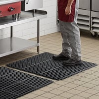 Choice 3' x 3' Black Rubber Connectable Anti-Fatigue Floor Mat - 1/2 inch Thick