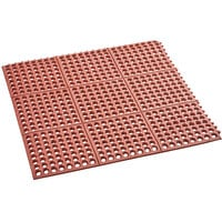 Choice 3' x 3' Red Rubber Connectable Grease-Resistant Anti-Fatigue Floor Mat - 1/2 inch Thick