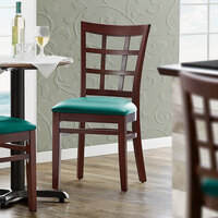 Lancaster Table & Seating Mahogany Wooden Window Back Chair with 2 1/2 inch Green Padded Seat - Detached Seat