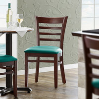 Lancaster Table & Seating Mahogany Finish Wooden Ladder Back Chair with 2 1/2 inch Green Padded Seat - Detached Seat