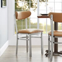 Lancaster Table & Seating Boomerang Dining Height Clear Coat Chair with Light Brown Vinyl Seat and Back