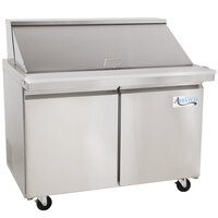 Avantco SS-PT-48M-HC 48 inch 2 Door Mega Top Stainless Steel ADA Height Refrigerated Sandwich Prep Table