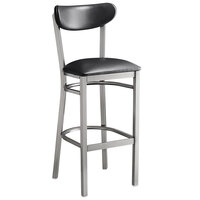 Lancaster Table & Seating Boomerang Bar Height Clear Coat Chair with Black Vinyl Seat and Back