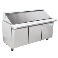 Avantco SS-PT-71M-HC 70 inch 3 Door Mega Top Stainless Steel ADA Height Refrigerated Sandwich Prep Table
