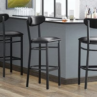 Lancaster Table & Seating Boomerang Bar Height Black Coat Chair with Black Vinyl Seat and Back