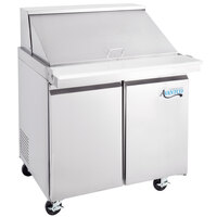 Avantco SS-PT-36M-HC 36 inch 2 Door Mega Top Stainless Steel ADA Height Refrigerated Sandwich Prep Table