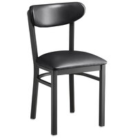 Lancaster Table & Seating Boomerang Dining Height Black Coat Chair with Black Vinyl Seat and Back