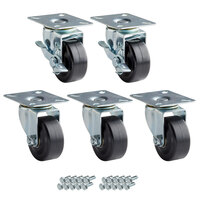 Avantco 178A2PCKIT5 2 1/2 inch ADA Height Swivel Plate Casters with Mounting Hardware for Avantco HBB-36, HBB-50, GF-36, and GF-50 Series Units   - 5/Set