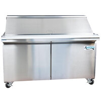 Avantco SS-PT-60M-HC 60 inch 2 Door Mega Top Stainless Steel ADA Height Refrigerated Sandwich Prep Table