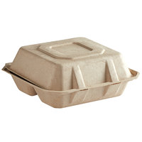 Tellus Products 8 inch x 8 inch Natural Bagasse 3-Compartment Clamshell Container - 200/Case