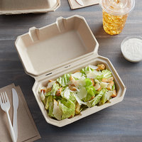 Tellus Products 9 inch x 6 inch Natural Bagasse Hoagie Clamshell Container - 200/Case