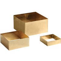 American Metalcraft RSQG2 3-Piece Gold Satin Finish Square Geo Riser Set