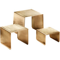 American Metalcraft RHG1 3-Piece Gold Hammered Finish Square Riser Set