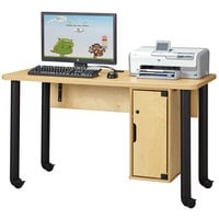 Jonti-Craft Baltic Birch 3348JC051 50 1/2 inch x 24 inch x 29 inch Single Children's Wood Computer Lab Table with Lockable CPU Cabinet
