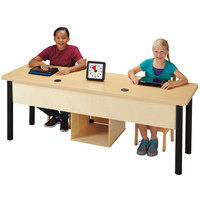 Jonti-Craft Baltic Birch 3344JC051 75 inch x 24 inch x 29 inch Dual Children's Wood Computer Lab Table with Lockable Dual CPU Cabinet