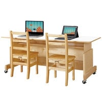Jonti-Craft Baltic Birch 3357JC Apollo 60 inch x 24 inch x 30 inch Adjustable Height Mobile Natural TRUEdge Wood Double Computer Desk with White Laminate Top