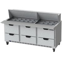 Beverage-Air SPED72HC-30M-6 72 inch 6 Drawer Mega Top Refrigerated Sandwich Prep Table