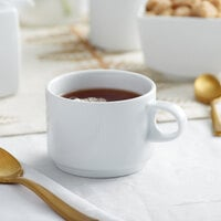 Sant'Andrea W6052344530 Nexus 8.75 oz. Round Bright White Embossed Stackable Porcelain Cup by Oneida - 36/Case