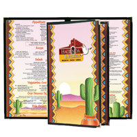 8 1/2 inch x 11 inch Menu Paper - Southwest Themed Cactus Design Cover - 100/Pack