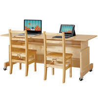 Jonti-Craft Baltic Birch 3358JC Apollo 60 inch x 24 inch x 30 inch Adjustable Height Mobile Natural TRUEdge Wood Double Computer Desk with Maple Laminate Top