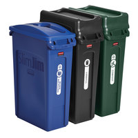 Rubbermaid 1998897 Slim Jim 3-Stream Waste and Recycling Station Kit with (3) 23 Gallon Rectangular Trash Cans, Lids, and Label Kit