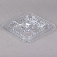 Cambro 60CWLN135 Camwear 1/6 Size Clear Polycarbonate FlipLid with Spoon Notch