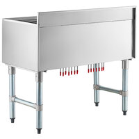 Regency 21 inch x 48 inch Underbar Ice Bin with 10 Circuit Post-Mix Cold Plate and Bottle Holders
