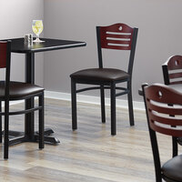 Lancaster Table & Seating Mahogany Finish Bistro Dining Chair with 1 1/2 inch Dark Brown Padded Seat - Detached Seat