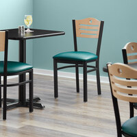 Lancaster Table & Seating Natural Finish Bistro Dining Chair with 1 1/2 inch Green Padded Seat - Detached Seat