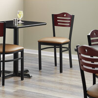 Lancaster Table & Seating Mahogany Finish Bistro Dining Chair with 1 1/2 inch Light Brown Padded Seat - Detached Seat