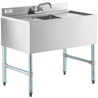 Regency 1 Bowl Underbar Sink with Faucet and Two Drainboards - 36 inch x 21 inch
