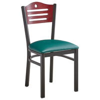 Lancaster Table & Seating Mahogany Finish Bistro Dining Chair with 1 1/2 inch Green Padded Seat - Detached Seat