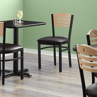 Lancaster Table & Seating Natural Finish Bistro Dining Chair with 1 1/2 inch Dark Brown Padded Seat - Detached Seat
