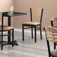 Lancaster Table & Seating Natural Finish Bistro Dining Chair with 1 1/2 inch Light Brown Padded Seat - Detached Seat