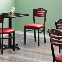 Lancaster Table & Seating Mahogany Finish Bistro Dining Chair with 1 1/2 inch Red Padded Seat - Detached Seat