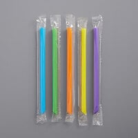 Choice 7 3/4 inch Neon Pointed Wrapped Boba Straw - 500/Pack
