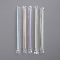 Choice 9 inch Multicolor Stripe Pointed Wrapped Boba Straw - 1600/Case