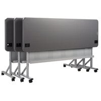 National Public Seating BPFT-2472-20 Flip-N-Store 24 inch x 72 inch Charcoal Slate Mobile Training Table