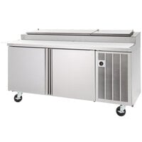 Delfield 18648PTLP 48 inch One Door Refrigerated Pizza Prep Table with LiquiTec Raised Rail