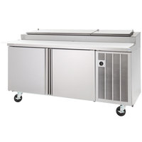 Delfield 18699PTLP 99 inch Three Door Refrigerated Pizza Prep Table with LiquiTec Raised Rail
