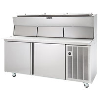 Delfield 18648PDLP 48 inch One Door Refrigerated Pizza Prep Table with Dual LiquiTec Raised Rails