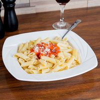 CAC GAD-SQ110 Garden State 24 oz. Bone White Square Porcelain Pasta Bowl - 12/Case