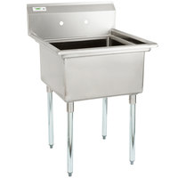 Regency 28 inch 16-Gauge Stainless Steel One Compartment Commercial Sink with Stainless Steel Legs, Cross Bracing, and without Drainboards - 23 inch x 23 inch x 12 inch Bowl