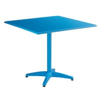 Lancaster Table & Seating 36 inch x 36 inch Blue Powder-Coated Aluminum Dining Height Outdoor Table with 4 Side Chairs