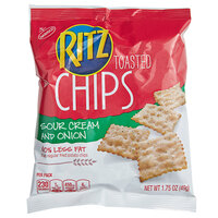 Nabisco Ritz 1.75 oz. Toasted Sour Cream and Onion Chip Snack Pack - 60/Case