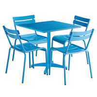 Lancaster Table & Seating 32 inch x 32 inch Blue Powder-Coated Aluminum Dining Height Outdoor Table with 4 Side Chairs