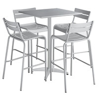 Lancaster Table & Seating 32 inch x 32 inch Silver Powder-Coated Aluminum Bar Height Outdoor Table with 4 Barstools
