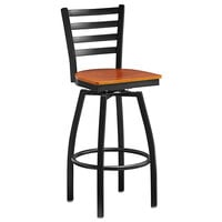 Lancaster Table & Seating Black Top Frame Ladder Back Swivel Bar Height Chair with Cherry Wood Seat